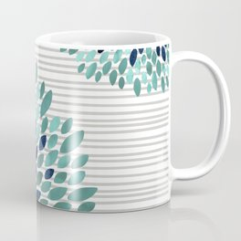 Blooms and Stripes, Aqua and Navy Coffee Mug