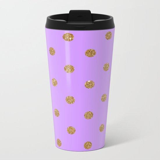 Purple Gold Glitter Dots Metal Travel Mug