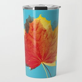 Autumn leaves red yellow on blue Travel Mug