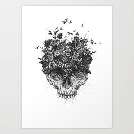 My head is a jungle (b&w) Art Print