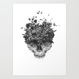 My head is a jungle (b&w) Art Print