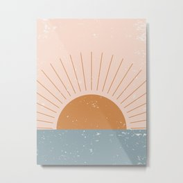 Minimalist Minimal Landscapes Colour Block Ocean Sunset Pastel Colours Midcentury Modern Cool Magical Mystical Abstract Art Bohemian Boho Style Trendy  Metal Print