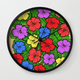 Hibiscus & Monstera Wall Clock