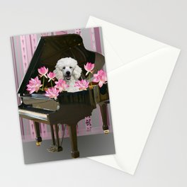 Piano with Poodle and Lotus Flower Blossoms Stationery Cards