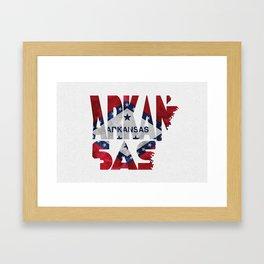 Arkansas Typographic Flag Map Art Framed Art Print