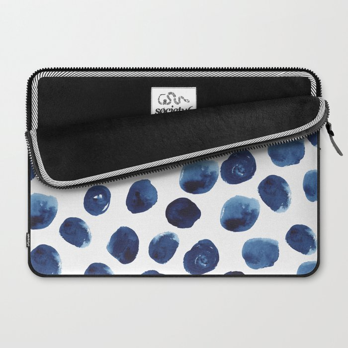 India - blue paint, ink spots, design, watercolor brush, dots, cell phone case Laptop Sleeve