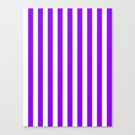 Narrow Vertical Stripes - White and Violet Canvas Print