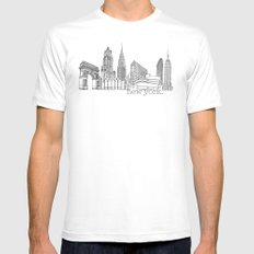 NYC Landmarks by the Downtown Doodler MEDIUM Mens Fitted Tee White