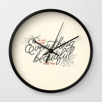 pocketfuel Wall Clocks featuring EVERYTHING BEAUTIFUL by Pocket Fuel
