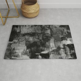 Crackled Gray - Black, white and gray, grey textured abstract Rug