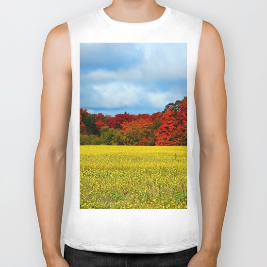 Blue Red Yellow Green and White Biker Tank