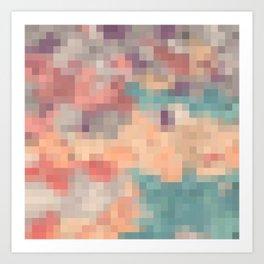 pink purple and blue pixel Art Print