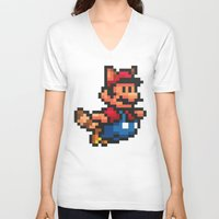 mario bros V-neck T-shirts featuring Pixelated Super Mario Bros - Mario by Katadd