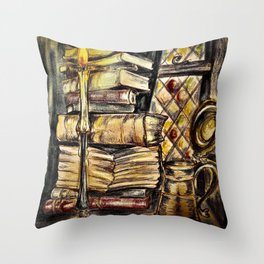 Candles, books and mead Throw Pillow
