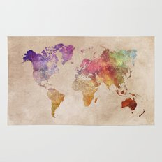 World Map Watercolor Rug
