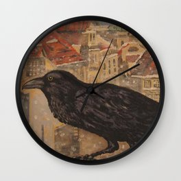 Crow and Snow Wall Clock