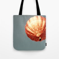 baloon Tote Bags featuring Strawberry hot air baloon by Wood-n-Images