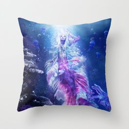The Mermaid's Encounter Throw Pillow