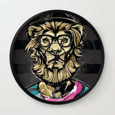 Hipster Lion on Black Wall Clock