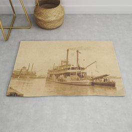 Vintage Steamboat Photographic Print Rug