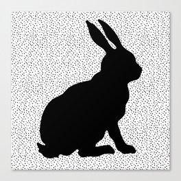 Black Silhouette Sitting Bunny Rabbit Polka Dots on White Canvas Print