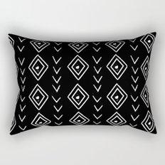 mudcloth 8 minimal textured black and white pattern home decor minimalist Rectangular Pillow