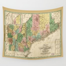 Map of Maine, New Hampshire and Vermont (1826) Wall Tapestry