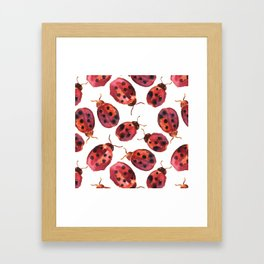 Lady bugs watercolor Framed Art Print
