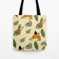 woodland Tote Bags featuring woodland by Melrose Illustrations
