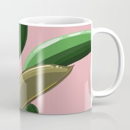 Rubber Plant Illustration (pink background) Coffee Mug