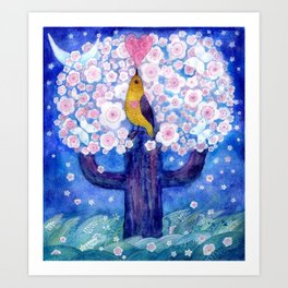spring night song, original watercolour Art Print