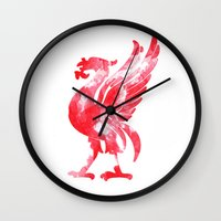 liverpool Wall Clocks featuring Liverpool Liver Bird watercolour  by sarah illustration