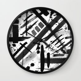 Abstract Black and White Watercolor Brush Lines Bold Modern Painting Design Wall Clock
