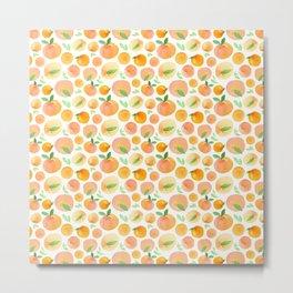Watercolor Peaches Pattern Metal Print