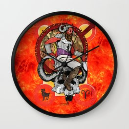 "Ars Tarot of the 12 Zodiac: ""Aries - The Emperor"" Wall Clock"