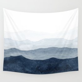 Indigo Abstract Watercolor Mountains Wall Tapestry