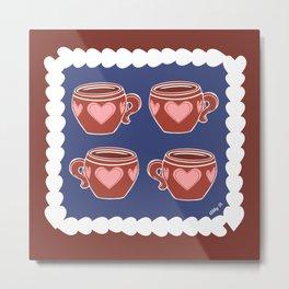 Coffee Love Navy & Brown Pattern Metal Print