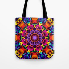 Cool Colourful Kaleidoscope, fractal art Tote Bag