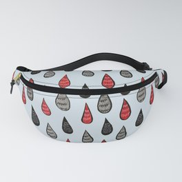 Weird Rain Drops Ink Pattern In Red Black Grey Fanny Pack