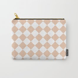 Diamonds - White and Desert Sand Orange Carry-All Pouch
