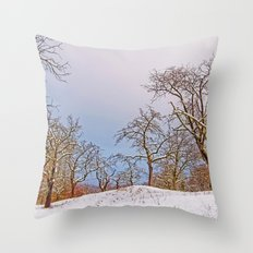 Fruit trees in the snow Throw Pillow
