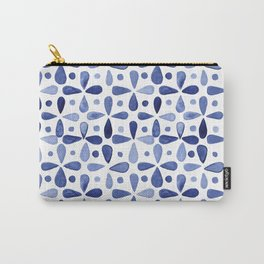 Imperfect Geometry Blue Petal Grid Carry-All Pouch