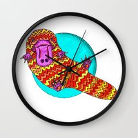 platypus Wall Clocks featuring Platypus by Ruth Wels