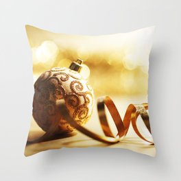 Golden Christmas ball 4k New Year golden background golden silk ribbon Christmas Throw Pillow
