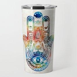 Colorful Hamsa Hand - Jewish Artwork - Sharon Cummings Travel Mug