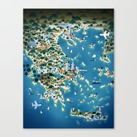 greece Canvas Prints featuring Greece by Steebz