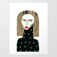 fashion illustration Art Prints featuring Fashion Illustration  by Ashley Percival illustration