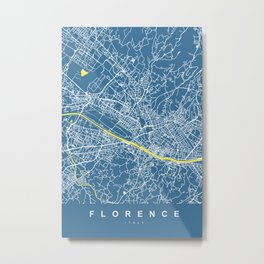 Florence Map | Italy | Blue & Yellow | More Colors, Review My Collections Metal Print