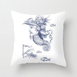 Sea Posse I - Warrior, Navy Print Throw Pillow