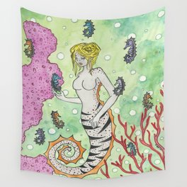 seahorses and sand dollars Wall Tapestry